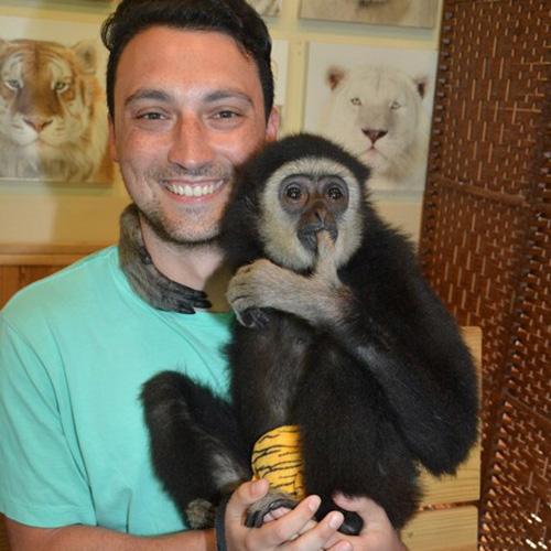Thomas with a monkey